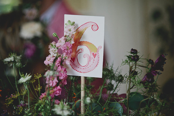 Relaxed Colourful Flower Filled Wedding Water Colour Table Name http://www.blissfulwedding.co.uk/