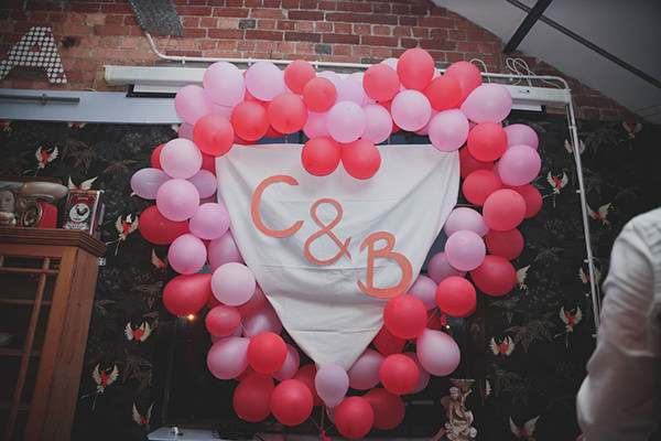 Relaxed Colourful Flower Filled Wedding Balloon Inital Decoration http://www.blissfulwedding.co.uk/
