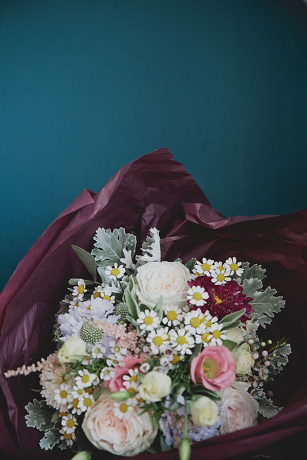 Relaxed Colourful Flower Filled Wedding Dasiy Bouquet http://www.blissfulwedding.co.uk/