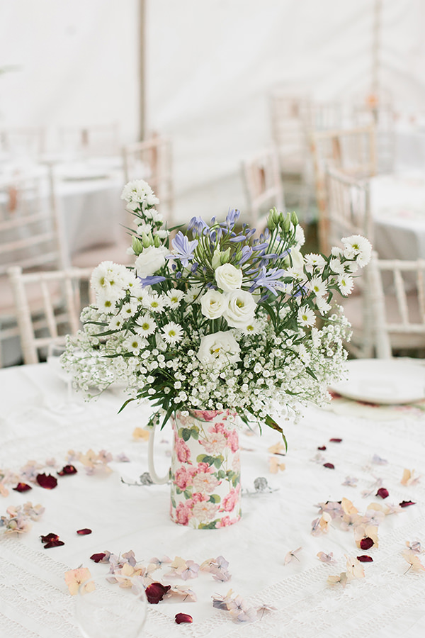 Happy Country Back Garden Wedding Jug Flowers http://www.samanthawardphotography.co.uk/