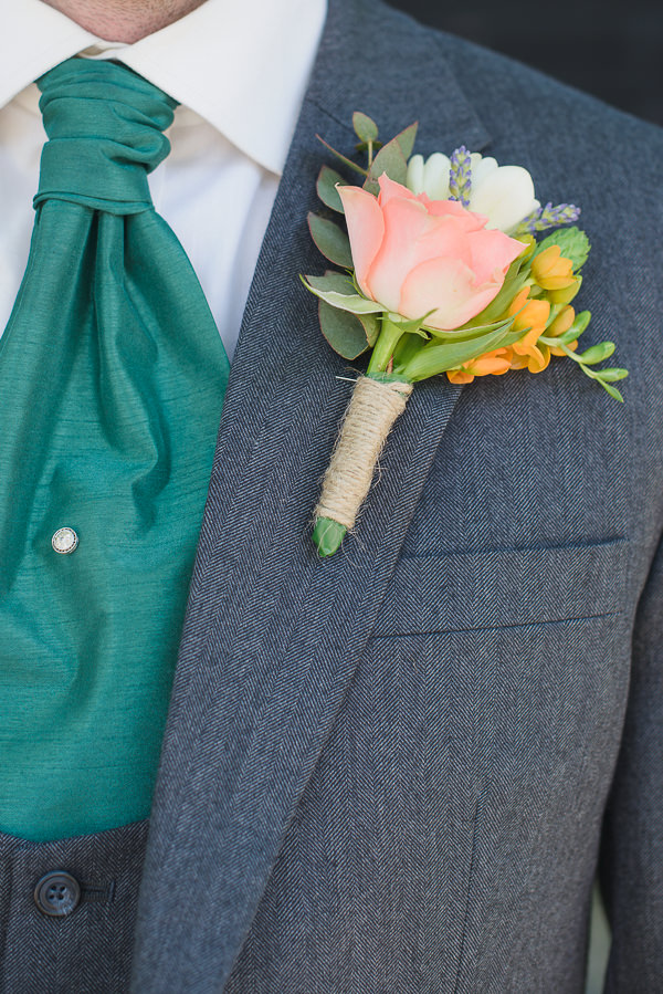 Coral & Green Rustic Wedding Groom Buttonhole http://www.riamishaal.com/