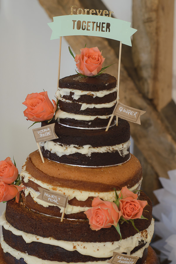 Coral & Green Rustic Wedding Naked Cake Homemade http://www.riamishaal.com/