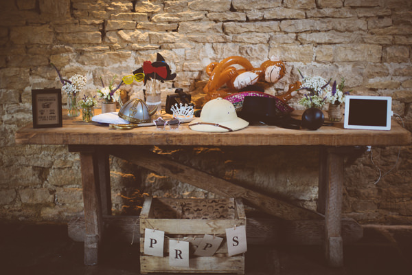 Rustic Cotswolds Barn Wedding Photo Booth Props http://jenmarino.com/