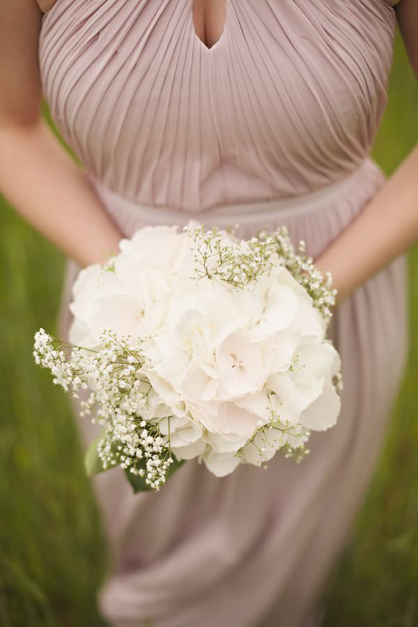 Pretty Pastel Romantic DIY Wedding White Hydrangea Bouquet Bridesmaid http://www.milkbottlephotography.co.uk/