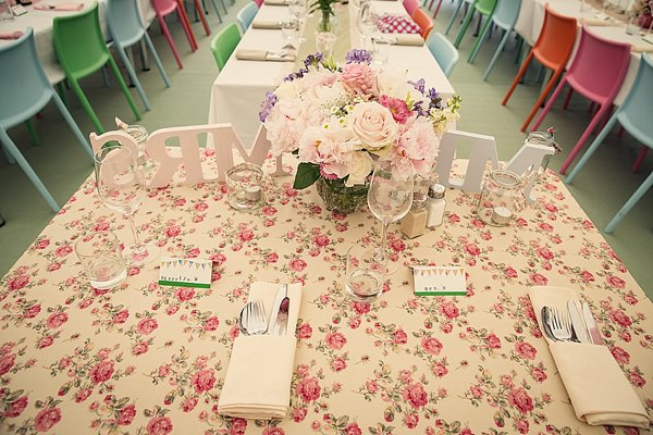 Fun Kid Friendly Colourful Party Wedding Bride & Groom Top Table http://assassynation.co.uk/