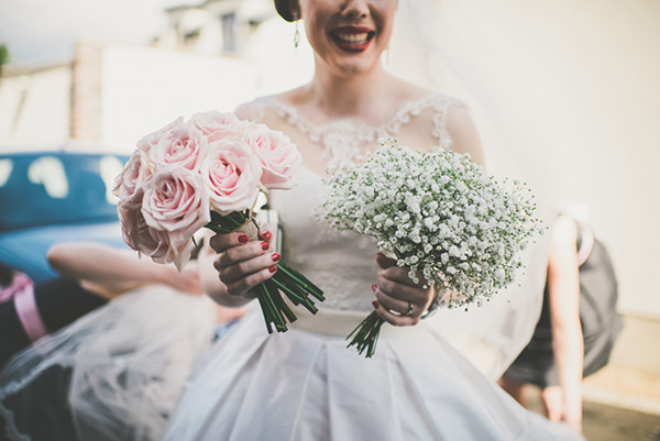 Chic Sophisticated Northern Ireland Wedding Rose Baby Breath Bouquets Bridal http://paulagillespie.com/