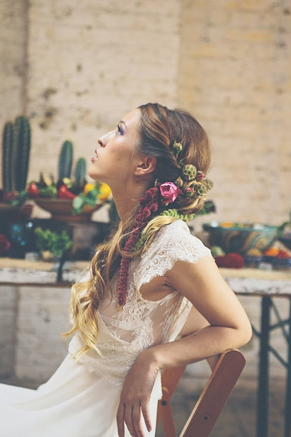 Long Hair Bride Flowers Twist Style Moroccan Nights Wedding Ideas http://www.jessicawitheyphotography.com/