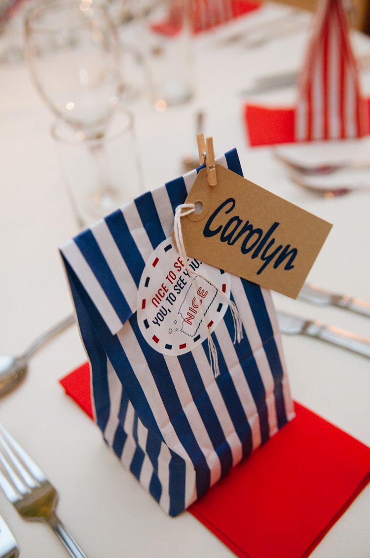 Stripe Sweet Bag Favours Luggage Tag Place Name Eclectic Vintage Music Party Wedding http://www.theretreat.co/