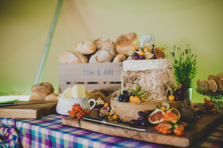Cheese Tower Stack Cake Savory Colourful Music Festival Glamping Wedding http://jonnymp.com/