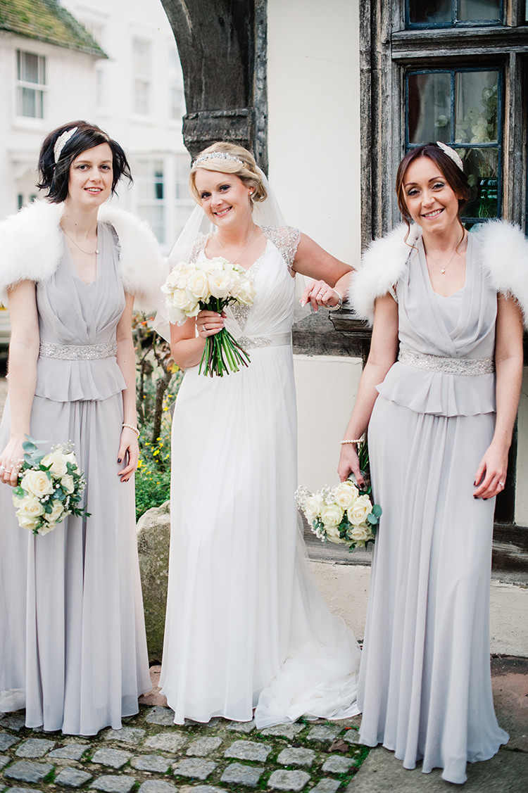 Pale Grey Bridesmaid Dresses Long Glamorous Gatsby 1920s Speakeasy Winter Wedding http://www.jmcsweeneyphotography.co.uk/