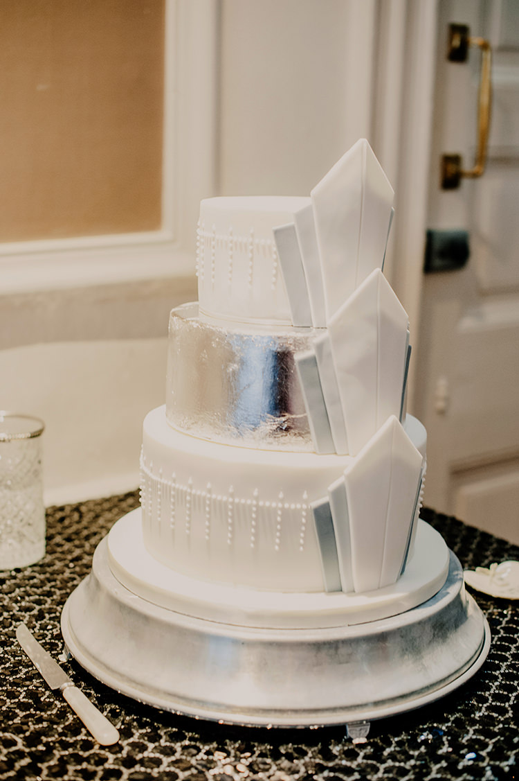 Silver White Cake Glamorous Gatsby 1920s Speakeasy Winter Wedding http://www.jmcsweeneyphotography.co.uk/