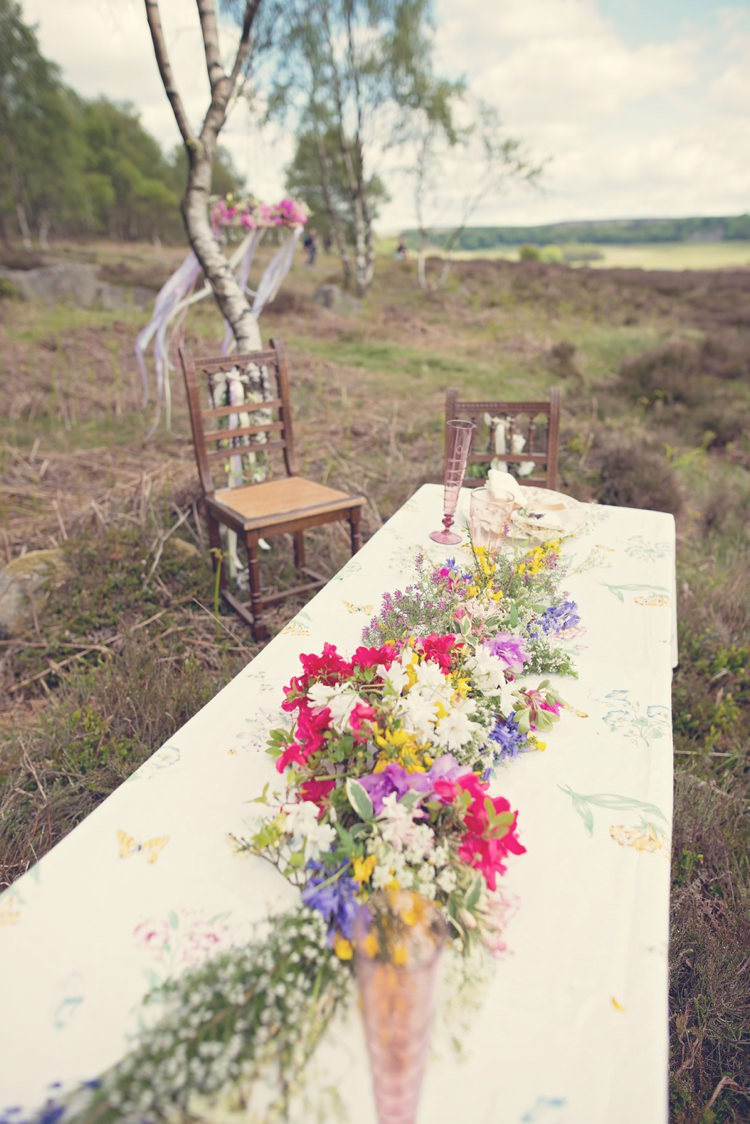 Table Long Garland Swag Colourful Spring Beautiful British Flower Peak District Moors Wedding Ideas http://www.sarahbrabbin.co.uk/