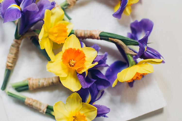 Daffodil Iris Buttonholes Chilled DIY Beach Front Cafe Cornwall Yellow Blue Wedding http://missgen.com/