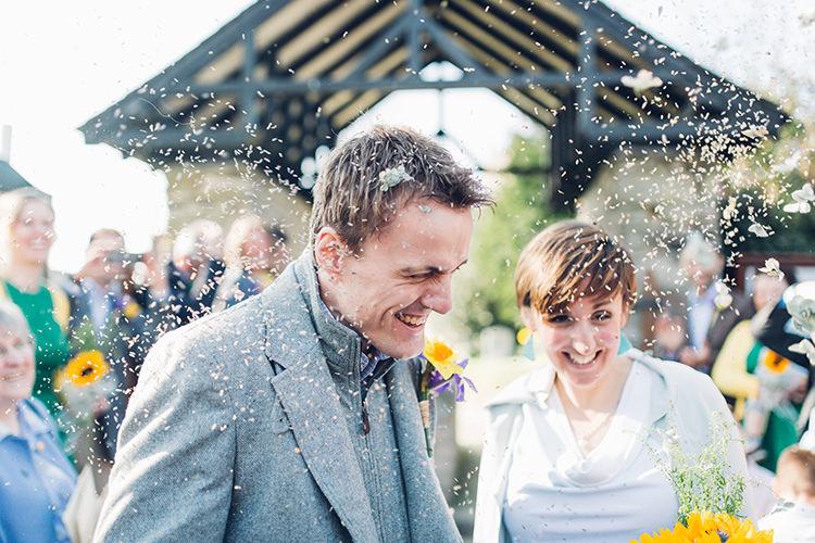 Confetti Rice Petals Chilled DIY Beach Front Cafe Cornwall Yellow Blue Wedding http://missgen.com/