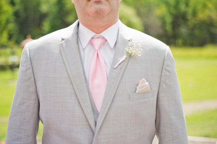 Groom Suit Romantic Pink Grey Outdoor Wedding Ontario http://www.nicoleamanda.ca/