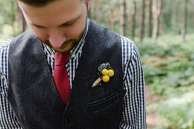 Billy Ball Yellow Buttonhole Our Whimsical Woodland Wedding Ceremony UK http://alexa-loy.com/