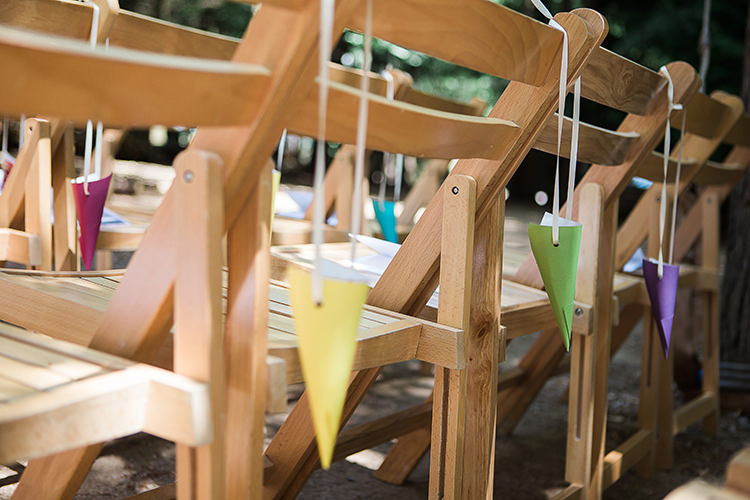 Confetti Cones Chairs Indie Hand Made Outdoor Woodland Wedding http://www.ilariapetrucci.co.uk/
