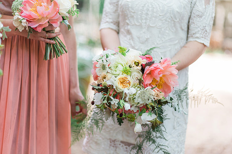 Coral Peony Bouquet Flowers Bride Bridal Bridesmaid Indie Hand Made Outdoor Woodland Wedding http://www.ilariapetrucci.co.uk/