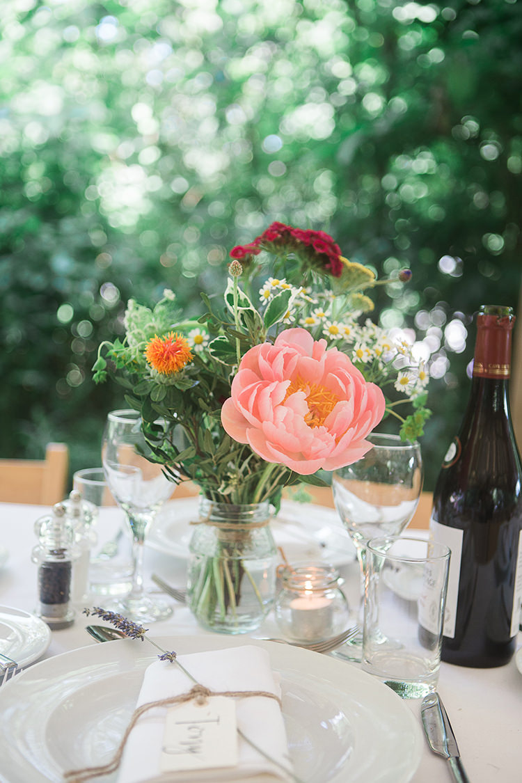 Coral Peony Dasies Jar Flowers Centrepieces Tables Indie Hand Made Outdoor Woodland Wedding http://www.ilariapetrucci.co.uk/