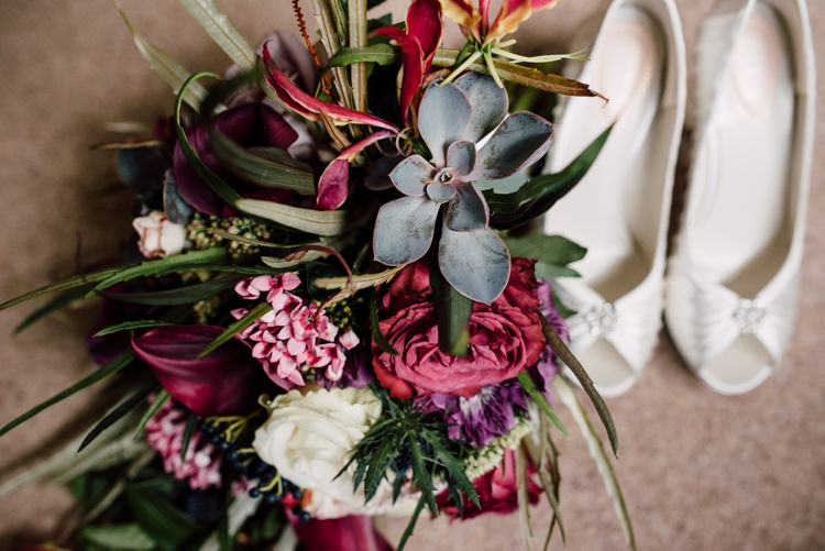 Succulent Rose Bouquet Flowers Fairytale Whimsical Burgundy Gold Wedding http://www.victoriatyrrellphotography.com/