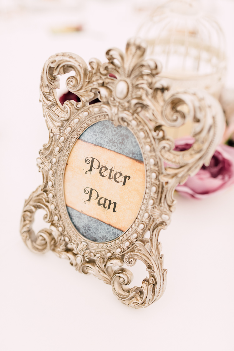Table Names Peter Pan Fairytale Whimsical Burgundy Gold Wedding http://www.victoriatyrrellphotography.com/