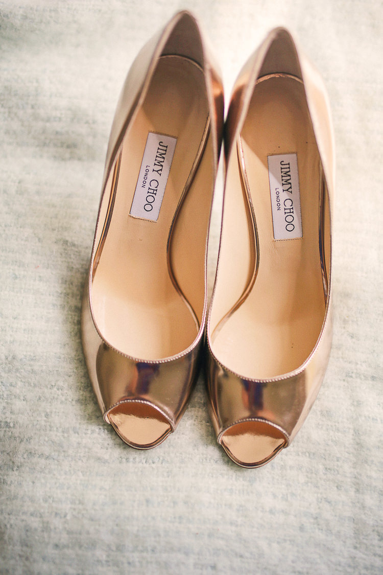 Rose Gold Shoes Bride Bridal Jimmy Choo Stylish Pastel Rustic Barn Wedding http://helenrussellphotography.co.uk/