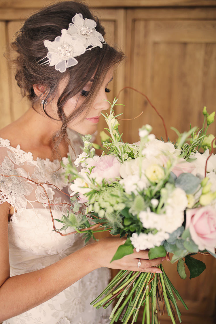 Large Bouquet Flowers Bride Bridal Pink White Green Peony Rose Stylish Pastel Rustic Barn Wedding http://helenrussellphotography.co.uk/
