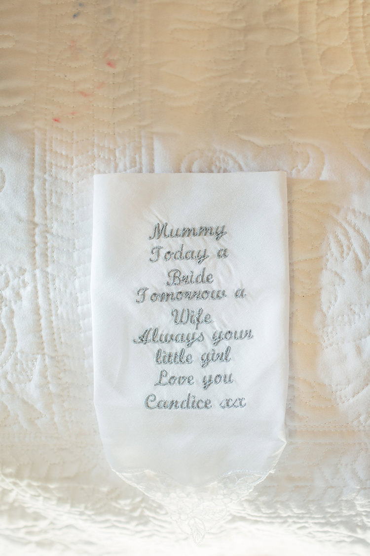 Personalised Handkerchief Gift Mum Home Made Rustic Eclectic Wedding http://www.frecklephotography.co.uk/