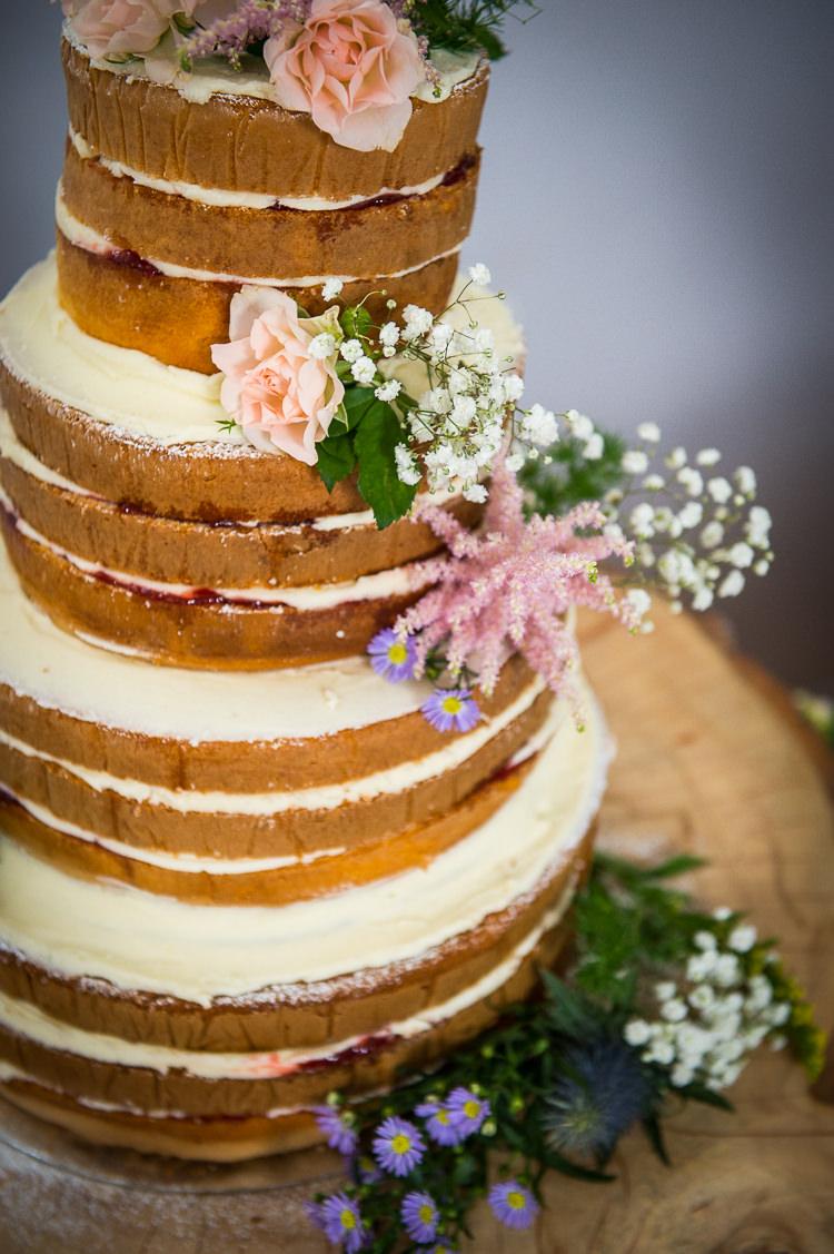 Naked Cake Sponge Layer Colourful DIY Village Fete Wedding http://jamesgristphotography.co.uk/blog/