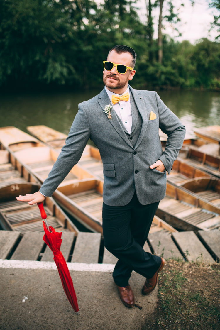 Tweed Chinos Bow Tie Groom Sunglasses Quirky Modern Yellow Grey City Wedding http://jenmarino.com/