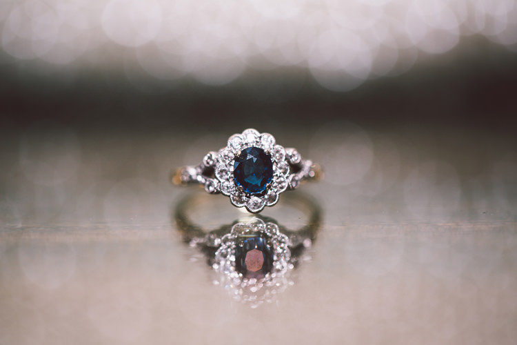 Vintage Engagement Ring Blue Sapphire Diamond Halo Band Quirky Modern Yellow Grey City Wedding http://jenmarino.com/