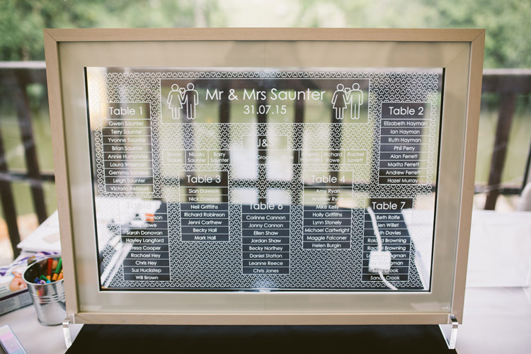 Graphic Etched Glass Seating Table Plan Chart Frame Quirky Modern Yellow Grey City Wedding http://jenmarino.com/