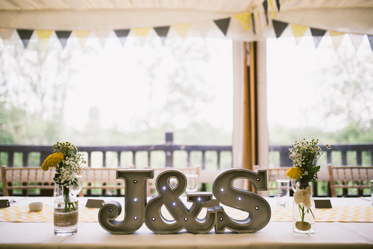 Letter Lights Top Table Quirky Modern Yellow Grey City Wedding http://jenmarino.com/