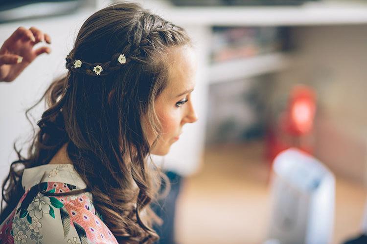 Hair Bride Bridal Daisies Braid Plait Colourful Fun London Wedding http://storyandcolour.co.uk/