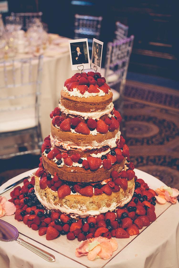 Cake Naked Sponge Layer Fruit Cream Colourful Fun London Wedding http://storyandcolour.co.uk/