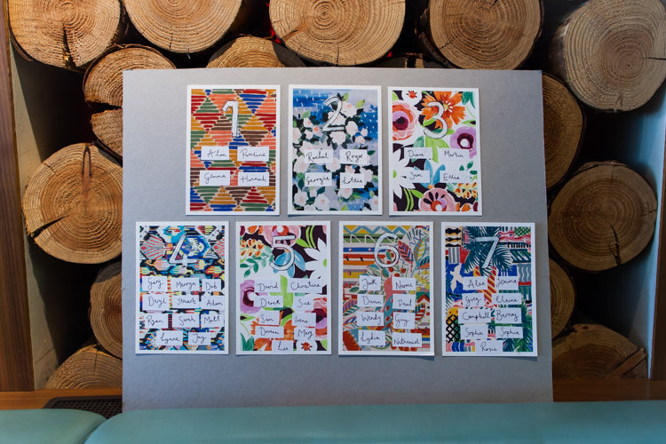 Floral Seating Plan Table Chart Floral Graphics Colourful DIY Village Hall Wedding http://samanthagilrainephotography.com/