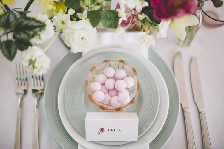 Sweet Favours Bowls Place Setting Spring Time Chic Wedding Ideas http://graceelizabethphotography.com/