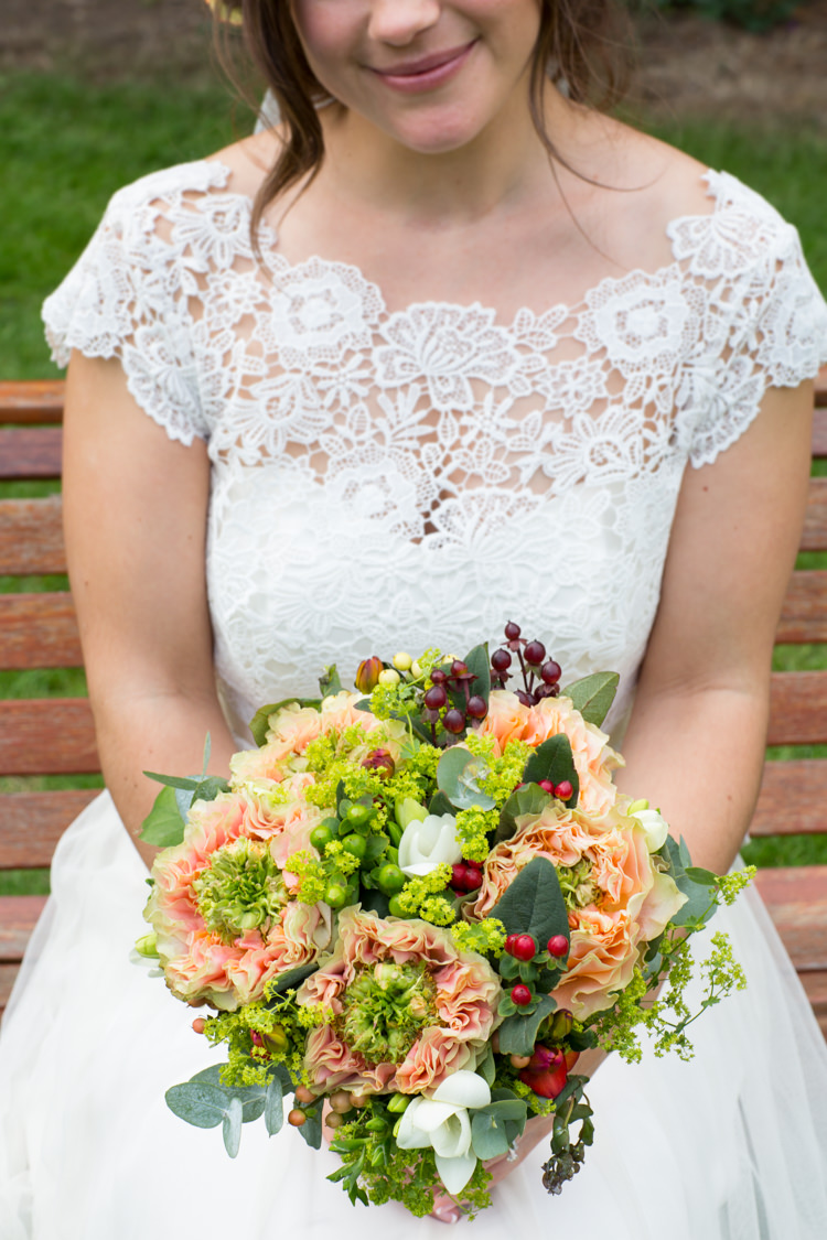 Bouquet Flowers Bride Bridal Peach Green Berries Country Fete Garden Festival Wedding http://sharoncooper.co.uk/