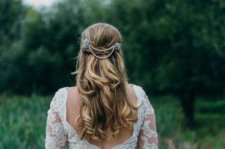 Bride Bridal Hair Long Waves Pearls Home Made Garden Party Wedding www.purplepeartreephotography.com