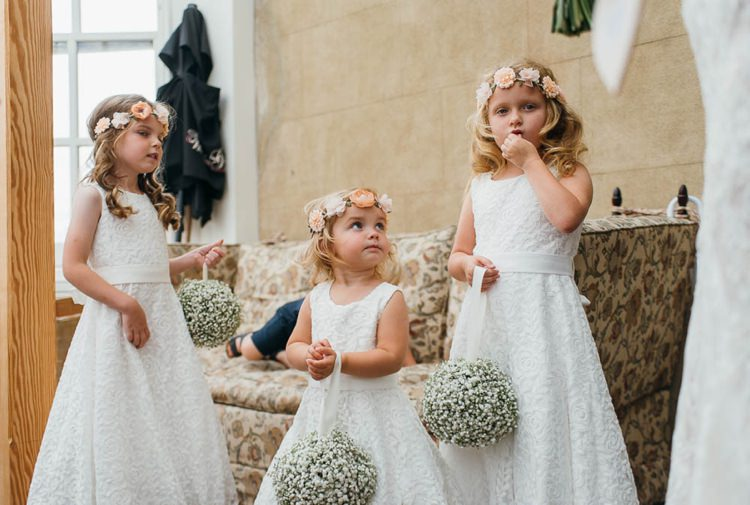 White Dresses Pomanders Flower Crown Girls Home Made Garden Party Wedding www.purplepeartreephotography.com