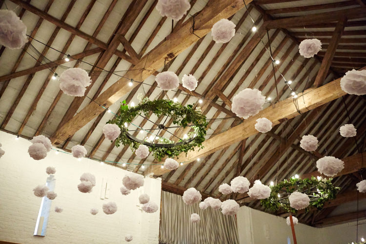 White Pom Poms Industrial Country Rustic Wedding https://www.fullerphotographyweddings.co.uk/