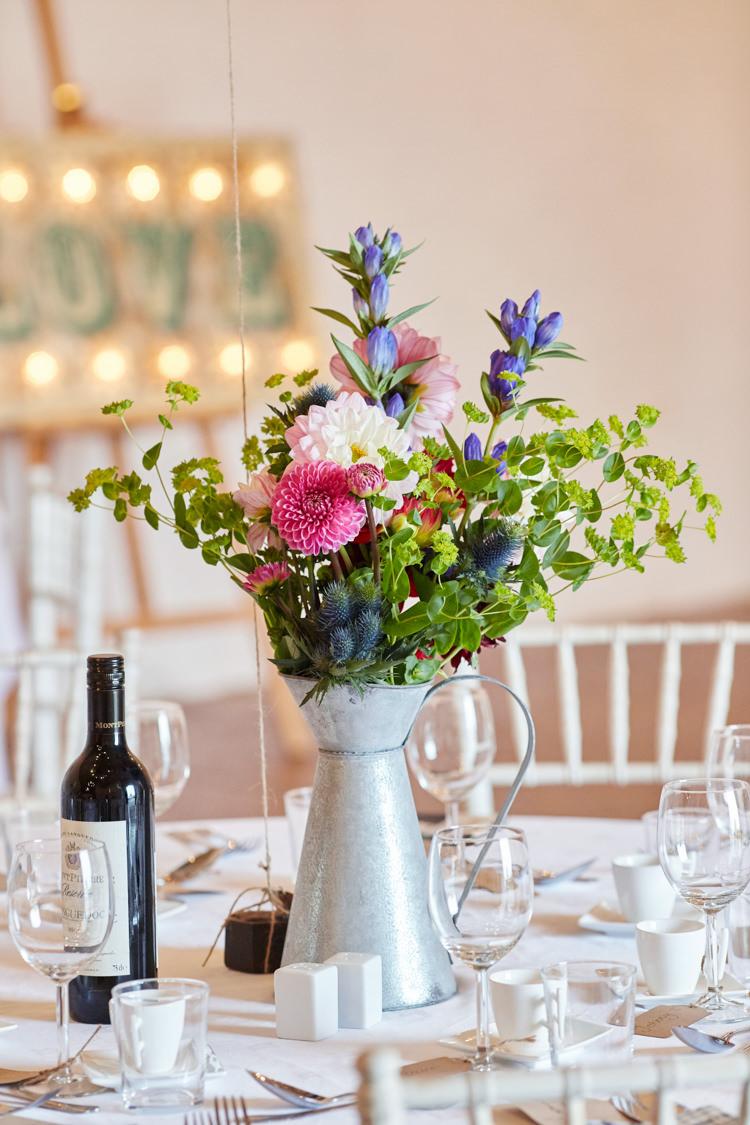 Metal Jug Flowers Centrepiece Table Industrial Country Rustic Wedding https://www.fullerphotographyweddings.co.uk/