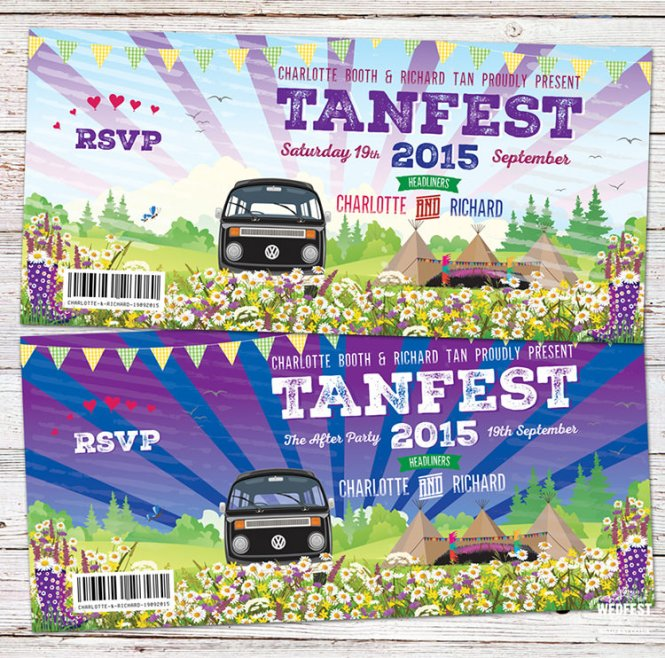 Wedfest Alternative Festival Wedding Stationery