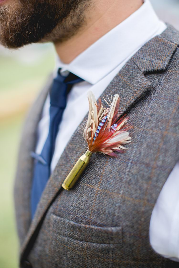 Feather Buttonhole Groom Family Farm Festival Wedding https://amylouphotography.co.uk/