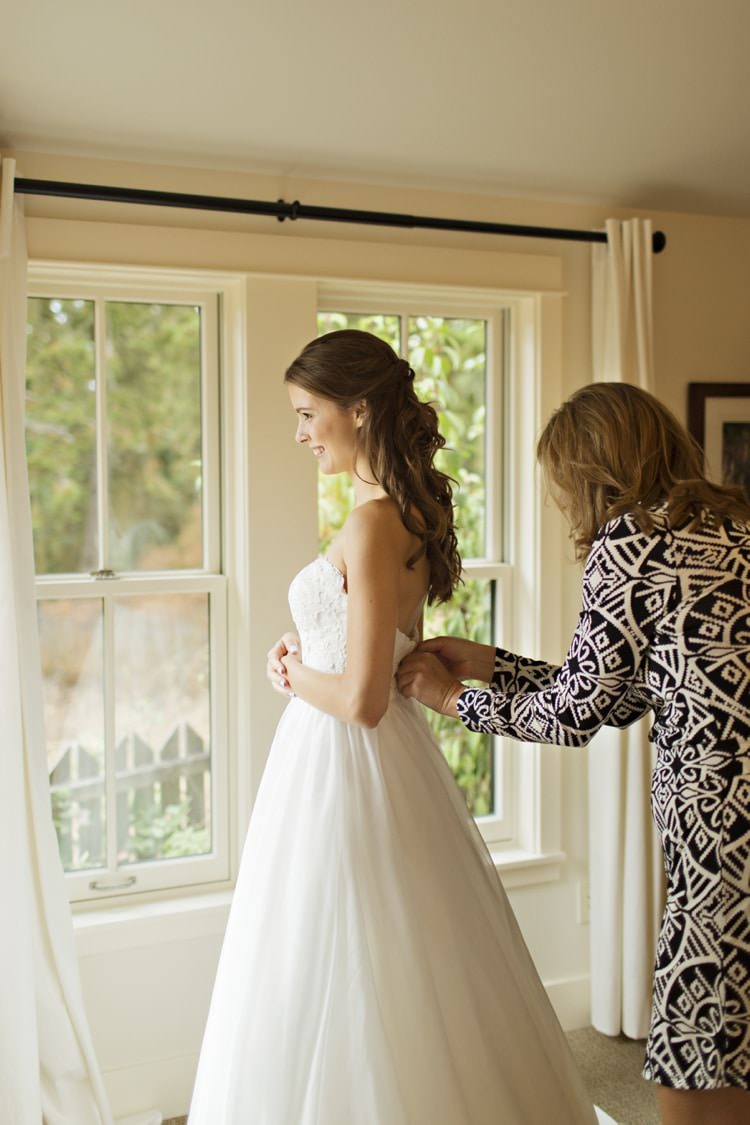 Bride Strapless Sweetheart Bridal Gown Loose Curls Hairstyle Elegant Classic Outdoor Wedding Washington http://www.courtneybowlden.com/