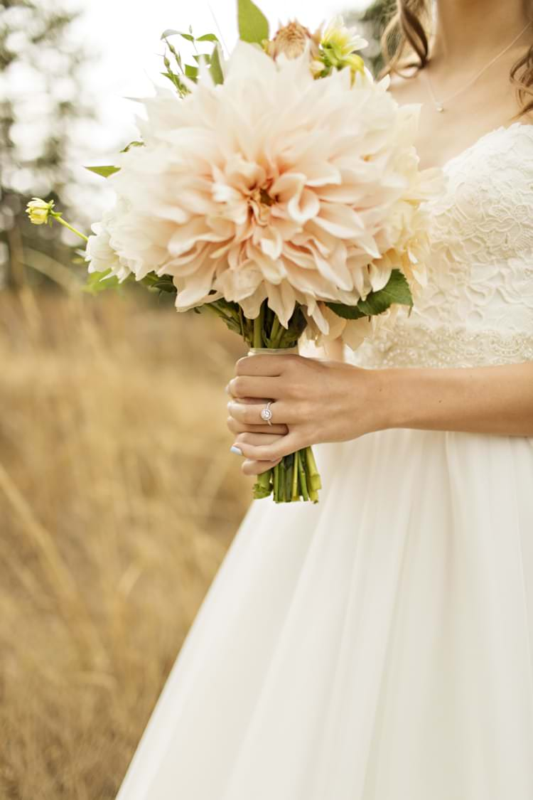Peach Pink Dahlia Bouquet Engagement Ring Bride Strapless Sweetheart Bridal Gown Elegant Classic Outdoor Wedding Washington http://www.courtneybowlden.com/