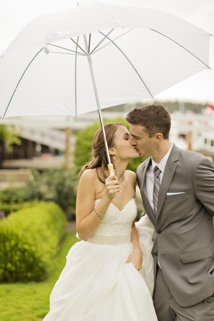 Bride Groom White Umbrella Kiss Strapless Sweetheart Bridal Gown Grey Suit Grey Stripe Tie Elegant Classic Outdoor Wedding Washington http://www.courtneybowlden.com/