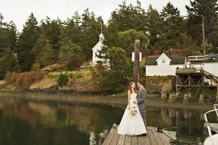 Bride Strapless Sweetheart Bridal Gown Dahlia Bouquet Groom Grey Suit Roche Harbor Resort Chapel Woods Elegant Classic Outdoor Wedding Washington http://www.courtneybowlden.com/