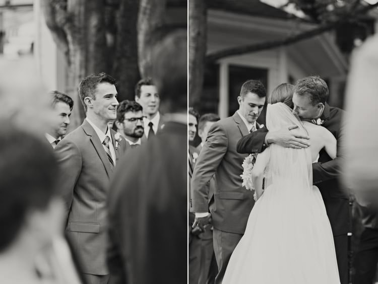 Outdoor Ceremony Bride Entrance Groom Father Hug Elegant Classic Outdoor Wedding Washington http://www.courtneybowlden.com/