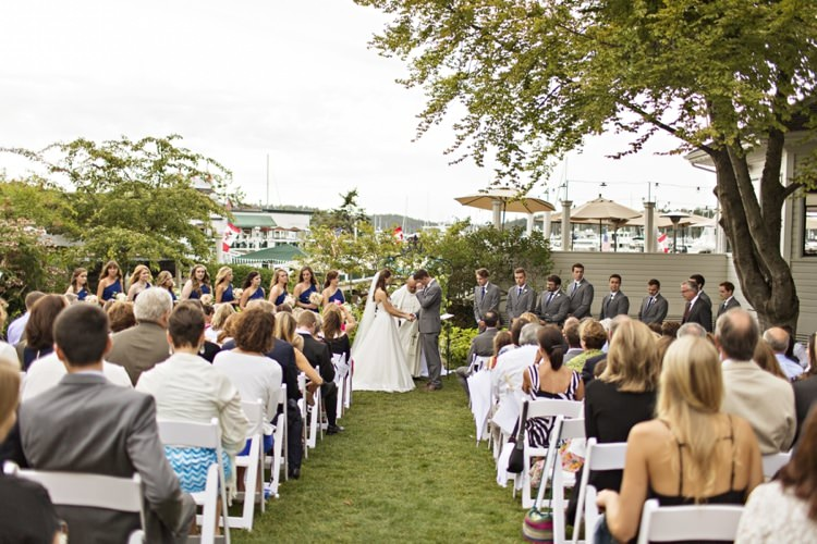 Outdoor Ceremony Bride Groom Guests Grass White Chairs Elegant Classic Outdoor Wedding Washington http://www.courtneybowlden.com/